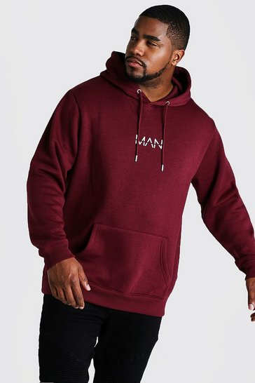 Mens Wine Big and Tall MAN Dash Hoodie