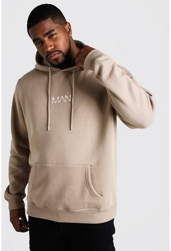 Big And Tall Hoodie mit MAN-Print, Taupe, Herren