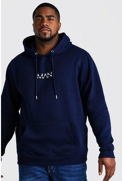 Big And Tall Hoodie mit MAN-Print, Marineblau, Herren