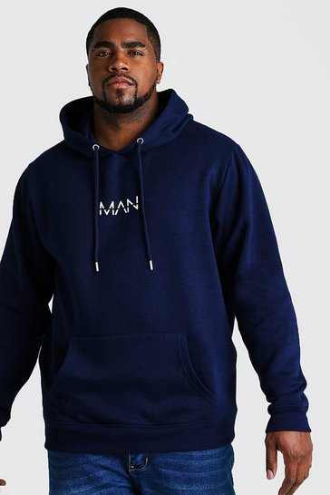 Mens Navy Big and Tall MAN Dash Hoodie