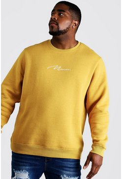 Mens Mustard Big and Tall MAN Script Sweater