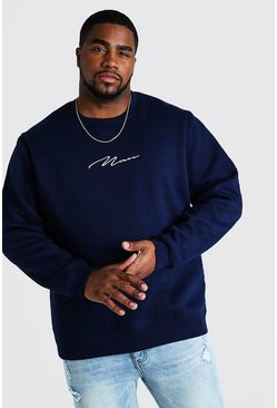 Herr Navy Big and Tall MAN Script Sweater