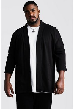 Mens Black Big and Tall Jersey Kimono