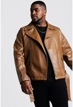 Mens Tan Big And Tall Faux Leather Biker Jacket