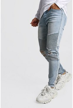 Mens Ice Wash Biker Detail Skinny Fit Jeans