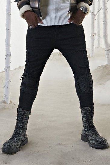 Black Skinny Jean With ZIP Ankles & PU Biker Detail