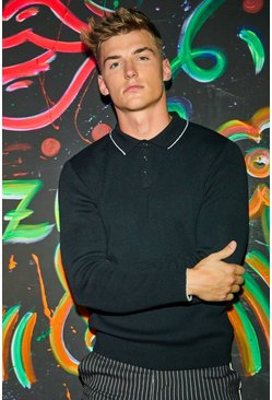 Mens Black Long Sleeve Kniited Polo with Tipping
