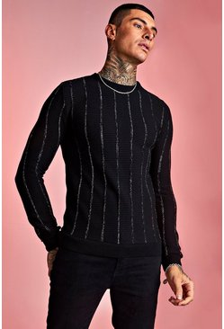 Black Muscle Fit Crew Neck Knitted Jumper with Metallic Ribbing