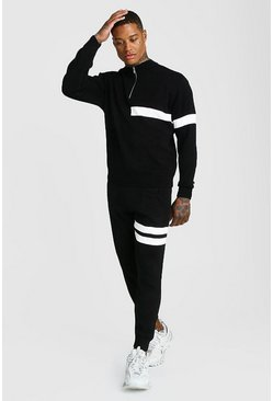 Mens Black Half Zip Funnel Neck Knitted Jumper & Jogger Set