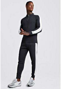 Mens Charcoal Muscle Fit Half Zip Funnel Jumper & Jogger Set