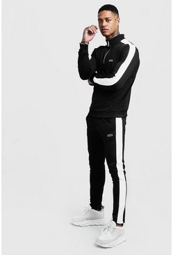 Mens Black Funnel Neck Contrast Panel MAN Tracksuit