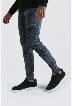 Herr Grey Skinny Biker Jeans With Zips