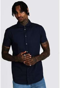 Navy Smart Cotton Shirt With Penny Collar