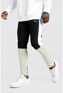 Mens Taupe MAN Signature Skinny Fit Colour Block Jogger