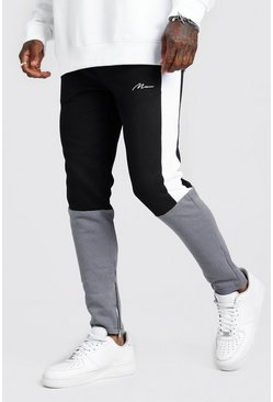 Mens Charcoal MAN Signature Skinny Fit Colour Block Jogger