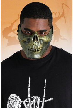 Mens Gold Half Skull Face Mask