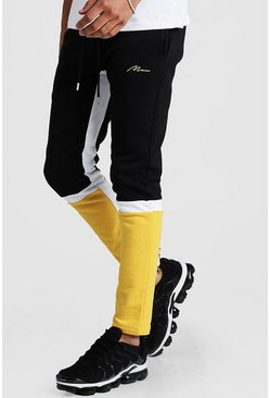 Mens Yellow Man Signature Colour Block Skinny Fit Jogger