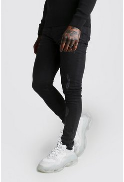 Herr Black Super Skinny Zip Detail Jeans With Raw Hem