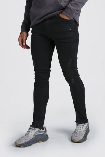 Mens Washed black Super Skinny Zip Detail Jeans With Raw Hem