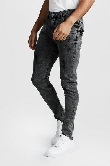 Grey Super Skinny Zip Detail Jeans With Raw Hem