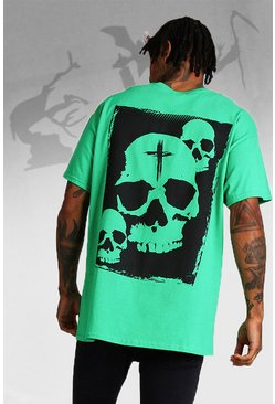 Herr Green Oversized Halloween Print Skull T-Shirt