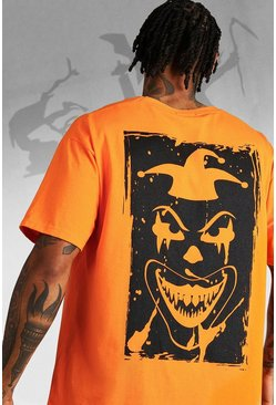 Herr Orange Oversized Halloween Back Print Clown T-Shirt