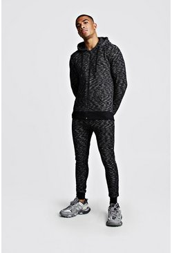 Mens Black Melange Zip Through Skinny Fit Tracksuit