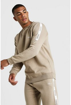 Herr Taupe MAN X Abode Sweater With Tape