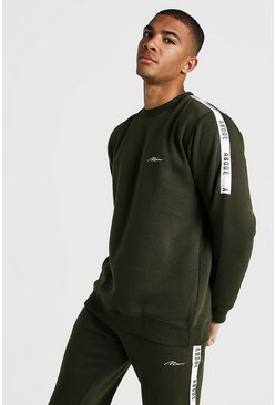 Mens Khaki MAN X Abode Sweater With Tape