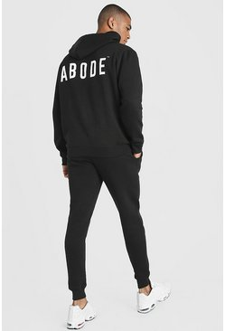 Black MAN X Abode Skinny Hooded Tracksuit