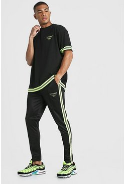 Black MAN X Abode Oversized T-Shirt Tracksuit With Neon Tape