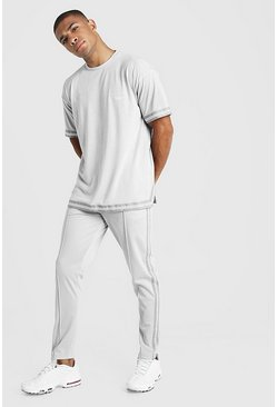 Light grey MAN X Abode Oversized T-Shirt Tape Tracksuit