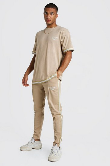Mens Taupe MAN X Abode Oversized T-Shirt Tracksuit With Tape