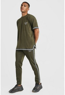 Khaki MAN X Abode Oversized T-Shirt Tracksuit With Tape