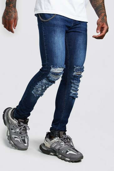 Blue Super Skinny Distressed Jean