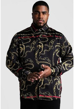 Black Big And Tall Chain Print Long Sleeve Shirt