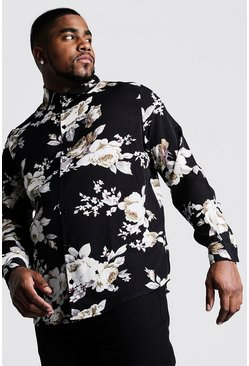 Mens Black Big And Tall Viscose Floral Print Long Sleeve Shirt
