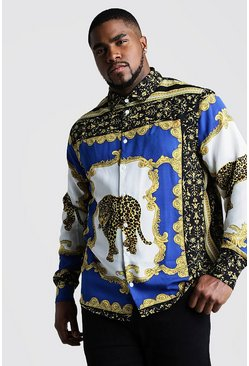 Mens Cobalt Big And Tall Cheetah Baroque Long Sleeve Shirt