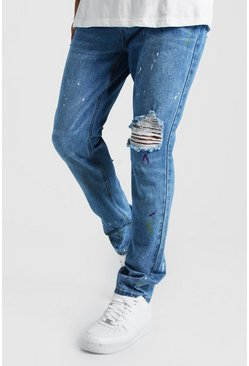 Mens Blue Slim Rigid Distressed Jean With Paint Splatter