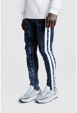 Herr Washed blue Super Skinny Acid Wash Jean With Paint Stripe