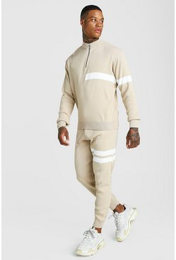 Mens Camel Half Zip Funnel Neck Knitted Jumper & Jogger Set