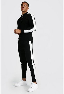 Herr Black Muscle Fit Half Zip Long Sleeve Polo & Jogger Set