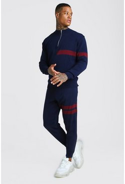 Herr Navy Half Zip Funnel Neck Knitted Jumper & Jogger Set