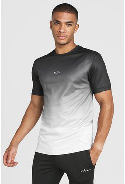 Mens Black MAN Active Ombre Muscle Fit T-Shirt