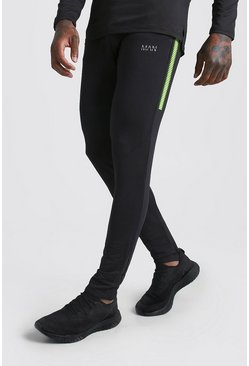 Mens Black MAN Active Muscle Fit Panelled Joggers