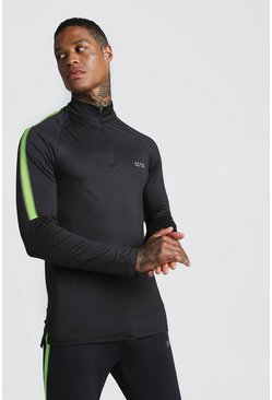 Mens Black MAN Active Muscle Fit Funnel Neck Top