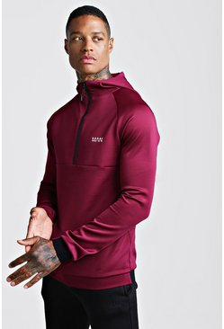Mens Wine MAN Active Muscle Fit Hoodie With 1/4 Zip