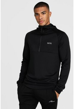 MAN Active Muscle Fit Hoodie With 1/4 Zip, Black, Uomo