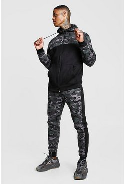 Mens Camo Colour Block Hooded Tracksuit