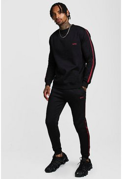 Mens Black Original MAN Embroidered Sweater Tape Tracksuit